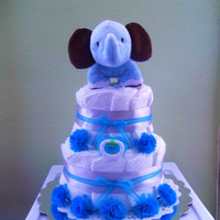 Boy Elephant Diaper Cake in Blue and Silver