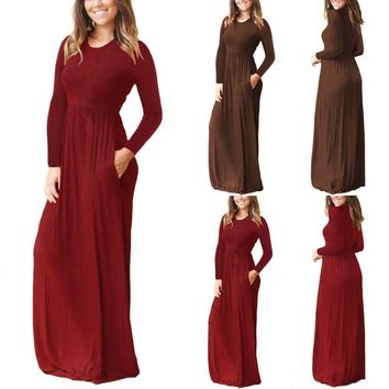 US Womens Loose Casual Long Dress Long Sleeve Plain Maxi Pocket Dresses