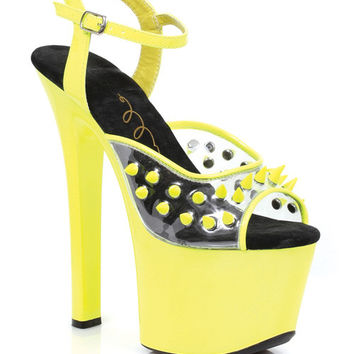 "Ellie Shoes Solar 7"" Neon Platform Black Light Reactive Spikes Yellow Seven"