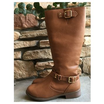 Never Failing Buckle Detail Tan Riding Boots