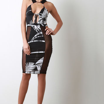 Tropical Mesh Strappy Midi Dress