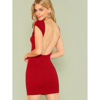 Open Back Solid Dress