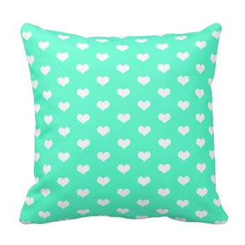Cute White Hearts Pattern on Mint - Throw Pillow