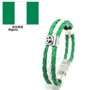 World Cup National Flags Sports 3 Str s Rope Braided Surfer Leather Bracelets Women Men Cuff Bangle Wristb  Jewelry SM6
