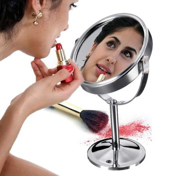 Beautiful Circle Makeup Mirror W/Double-Side & Magnifying Desktop Stand Style