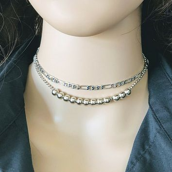 Silver Double Chain and Bead Choker