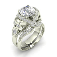 Skull Engagement Ring Silver with Diamond Created