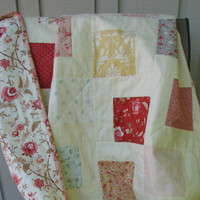 Baby Girl Quilt, Reversible, Crib Quilt, Nursery Bedding