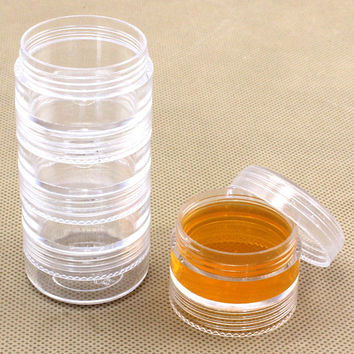 5 Layer connected Plastic Round Storage Box Comestic Containers Jars Bottle Jewelry Beads Boxes Transparent Makeup Organizer