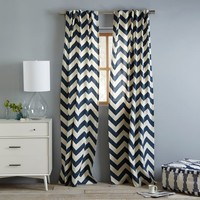 Cotton Canvas Zigzag Curtain - Blue Lagoon