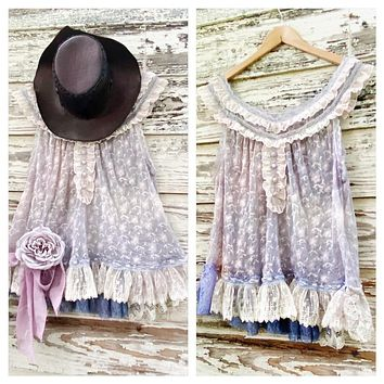 Romantic shabby lace tunic, boho festival spell tunic top, True Rebel Clothing L