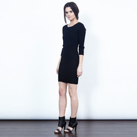 Jenny Long-Sleeve Ribbed Dress