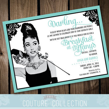 SALE! INVITATION Breakfast at Tiffany's Inspired Bridal Shower  -  Fully Custom Bridal Wedding Shower Printable DIY Digital File