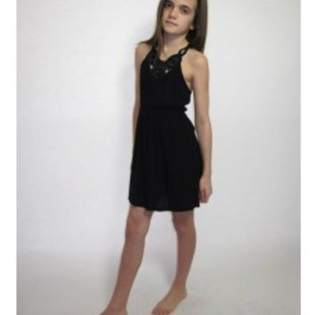 VINTAGE HAVANA Black Crochet Trim Dress - Tweens & Juniors