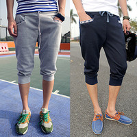 Street Fashion Men Cropped Harem Jogger Shorts