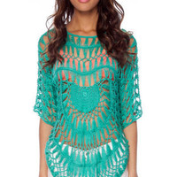 Sunset Crochet Sweater in Turquoise :: tobi