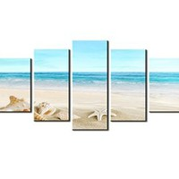"SZ HD Painting Canvas Prints for Home Decoration, Framed, Stretched- 5 Panels Starfish Shell & Blue Sea Picture Print on Canvas- Modern Home Decor Wall Art- 40""W x 20""H overall (SMALL size)"