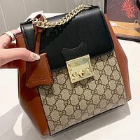 GUCCI New fashion more letter leather book bag backpack bag shoulder bag handbag
