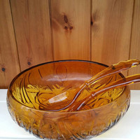 Amber glass serving dish with utensils / vintage glass serving bowl/orange glass serving dish/glass serving utensils Vintage dining ware