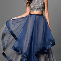 Two Piece Terani Dress with Tiered Skirt