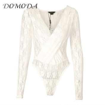 DOMODA 2017 New Fashion Women White Sexy Lace Cross Front Nets Semi-sheer Long Sleeve With Sleeves Soft Print Flower Bodysuits