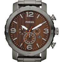 Fossil Watch, Men's Chronograph Nate Smoke Ion Plated Stainless Steel Bracelet 50mm JR1355 - All Watches - Jewelry & Watches - Macy's