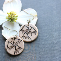 Wood-Burned Mountain Earrings, Wood Mountain Earrings, Wood Earrings, Mountain Jewelry