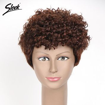 Sleek Short Human Hair Wigs For Black Women Brazilian Jerry Curly Hair 8 Inch Non Lace Hair Wig Free Shipping 3 P Colors ECHO