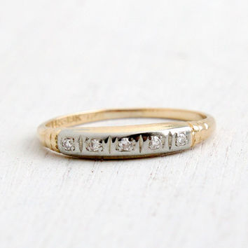 Antique 14k Yellow & White Gold Wedding Band Ring - Art Deco 1940s Wedding Engagement Stacking Fine Jewelry / Five Diamonds