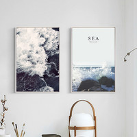 Nordic SEA Water Scenery Canvas Painting Wall Art Posters Nursery Decoration Oil Pictures For Living Room Home Decor Unframed