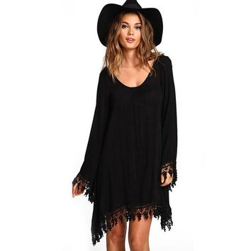 Sexy Party Dresses Fashion Women Summer Round Neck Backless Lace Dresses Fashion Full Sleeve Tassel Mini Dress Vintage Vestidos