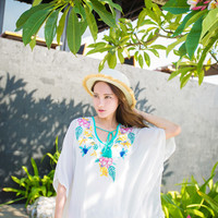 Loose Embroidery Beach Blouse