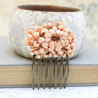 Flower Hair Comb Peach Chrysanthemum Light Rust Orange Autumn Bridal Wedding Garden Floral Vintage Style Hair Accessories Antique Brass