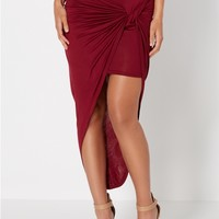 Burgundy Knotted Wrap Skirt