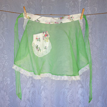 Vintage Sheer Half Apron with Floral Satin Waist, Ties & Pocket, Lace Trim Border, Half Circle Style