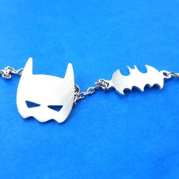 Batman Bat Logo Silhouette and Mask Charm Necklace in Silver