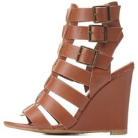 Bamboo Buckled Gladiator Wedges by