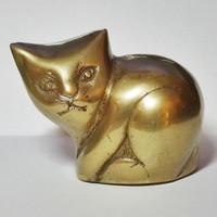 Small Brass Cat Figurine Paperweight