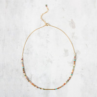 """Kitchen Sink"" Bead Choker, Multi-Color with Gold 