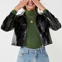 UNIF Gia Patent Cropped Jacket | Urban Outfitters
