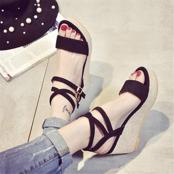 Women's shoes slope with high-heeled sandals in summer slabs students thick black word black water table sandals XL13