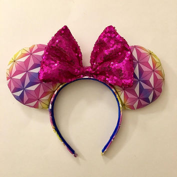 Spaceship Earth Night Minnie Mouse Ears