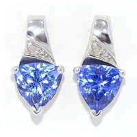 3 Carat Tanzanite Trillion Diamond Stud Earrings 14Kt White Gold
