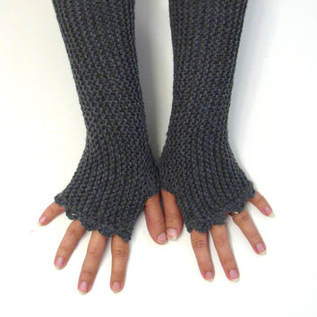 Dark gray fingerless mittens, womens accessories, charcoal texting gloves, vegan friendly, office gloves, handknit armwarmers, size XS to L