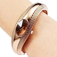 Gorgeous!!! Designed  Women's Luxury Fashion Bronze Bracelet Bangle Crystal Wrist Watch