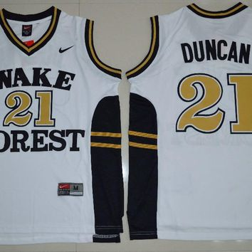 NIKE Wake Forest Demon Deacons Tim Duncan 21 College Ice Hockey Jerseys