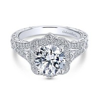 1.46cttw Vintage Style Halo Round Diamond Engagement Ring