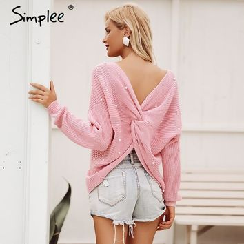 Simplee V neck pearl women knitted sweater winter Casual long sleeve pullover Elegant back bow beading soft jumper pull femme