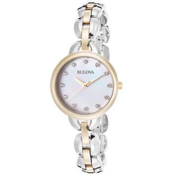 Bulova 98L208 Women's Crystal Accented MOP Dial Two Tone Steel Quartz Watch