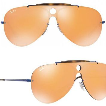 Gotopfashion NEW Rayban Blaze Shooter Sunglasses RB3581N 90387J Blue Dark Orange Aviator 3581